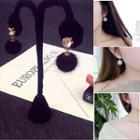 Pompom Accent Drop Earrings