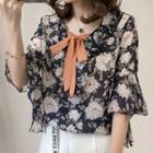 Ruffle Bow Floral Shirt