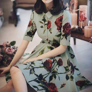 Elbow-sleeve Flower-accent Shirtdress