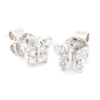 18k White Gold Butterfly Earrings With Diamonds