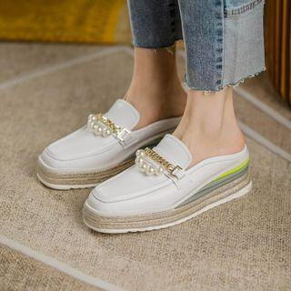 Platform Faux Pearl Loafer Mules