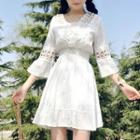 Perforated Bell-sleeve A-line Dress