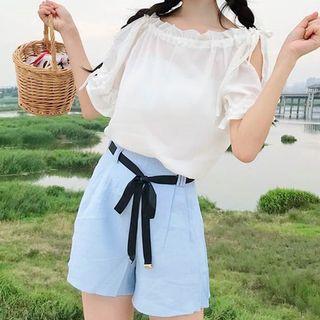 Short-sleeve Chiffon Top / Shorts