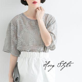 Flower Embroidered Elbow Sleeve T-shirt