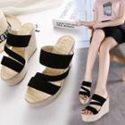 Strappy Wedge Slide Sandals