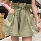 Plain Pocketed Wide Leg Shorts