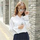 Notched-lapel Contrast-trim Shirt