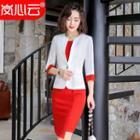 Buttoned Blazer / Short-sleeve Pencil Dress / Set