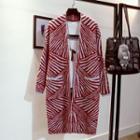 Striped Open-front Long Knit Jacket