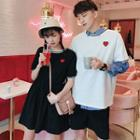Couple Matching Heart Embroidered Contrast Trim Short Sleeve T-shirt