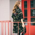 Camouflage-print Applique Zip Coat