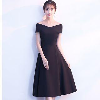 Short-sleeve Midi Prom Dress