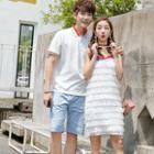 Couple Matching Short-sleeve Polo Shirt / Shorts / Fringe Strappy Dress