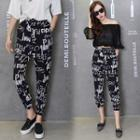 Cropped Patterned Harem Pants