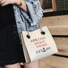 Lettering Faux Leather Hand Bag