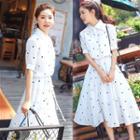 Short Sleeve Polka Dot Midi Dress