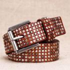 Studded Genuine Leather Belt