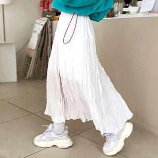Fleece-lined Crinkled Maxi Flare Skirt
