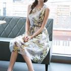 Floral Print Sleeveless Organza Dress