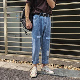 Washed Paneled Straight-cut Jeans
