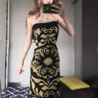 Patterned Strapless Sheath Dress As Shown In Figure - One Size