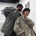 Couple Matching Reversible Plaid Zip Jacket
