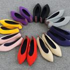 Pointy-toe Colored Knit Flats