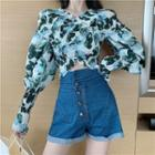 Long-sleeve Patterned Chiffon Cropped Top