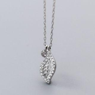 925 Sterling Silver Rhinestone Leaf Pendant Necklace Silver - One Size