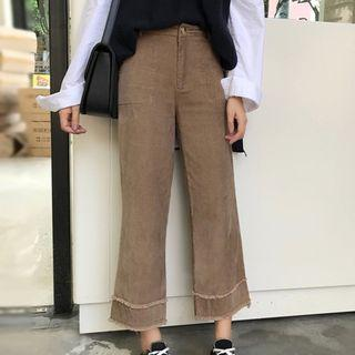 Corduroy Cropped Straight-fit Pants