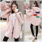 Letter Hooded Zip Hooded Trench Jacket