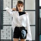 Inset Mock-neck Top Off-shoulder Shirt