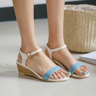 Wedge-heel Two-tone Sandals