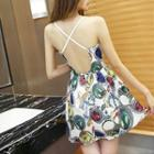 Sleeveless Backless Printed Dress
