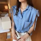 Drawstring Sleeveless Denim Shirt