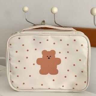 Bear Print Makeup Bag Coffee Bear & Dotted - White - One Size