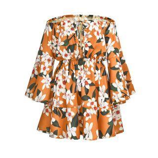 Off-shoulder 3/4-sleeve Floral Print Mini Sundress