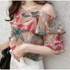 Flower Print Cold Shoulder Blouse