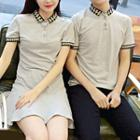 Couple Matching Patterned Short-sleeve Polo Shirt / Patterned Short-sleeve Polo Shirt Dress