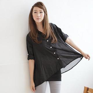 Asymmetric-hem Chiffon-back Long-sleeve Blouse Black - One Size