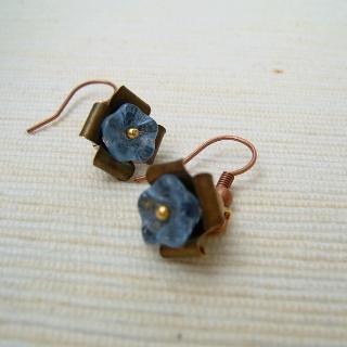 Copper Glass Flowers Earrings(blue) Gold - One Size