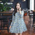 Tie-neck Floral A-line Dress