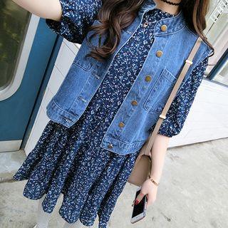 Floral Print Elbow-sleeve Chiffon Dress