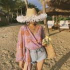 Floral Print Tie-front Chiffon Blouse
