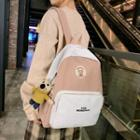 Mouse Charm Lettering Nylon Backpack