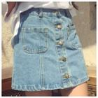 Washed Buttoned Denim Skirt