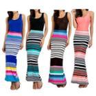 Sleeveless Striped Sheath Maxi Dress