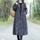 Hooded Floral Long Padded Coat