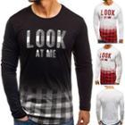Long-sleeve Plaid Print T-shirt