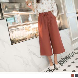 Cropped Lace Up Wide-leg Pants